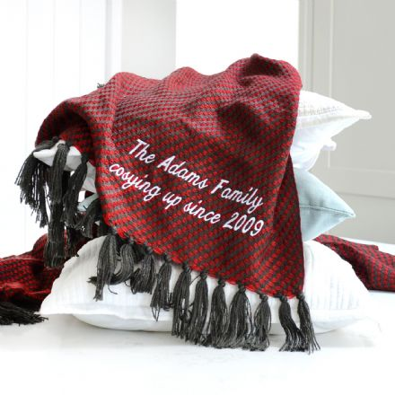 Personalised Red And Black Luxury Tassel Throw